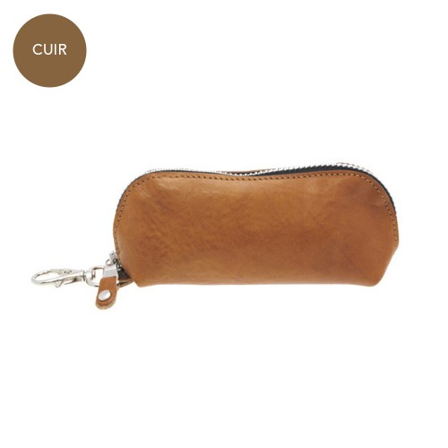 Porte-monnaie trousse marron Carthage