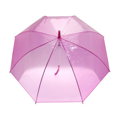 Parapluie canne transparent rose